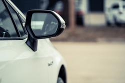 side rear-view mirror on a car.