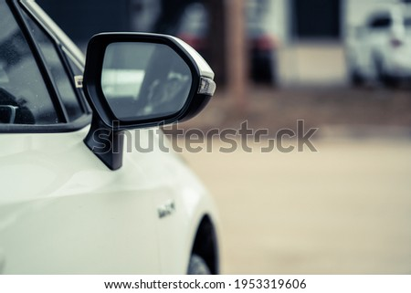 side rear-view mirror on a car. Foto stock ©