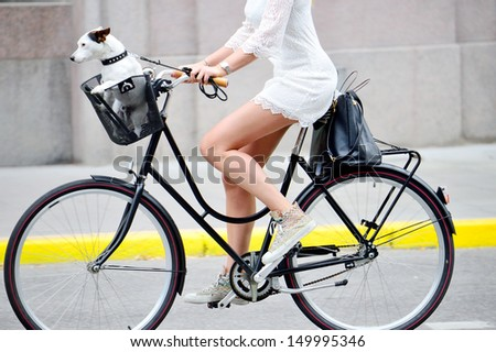 Side shot of woman on bike