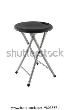 Side silver iron folding chair with black plastic on white background. - stock photo
