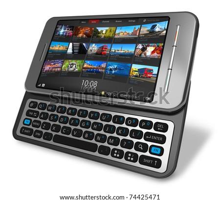 Side slider touchscreen smartphone