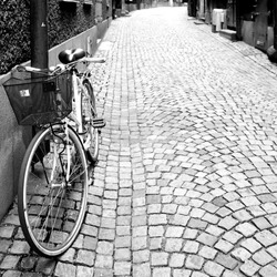 Side street in Stockholm. Black and white image