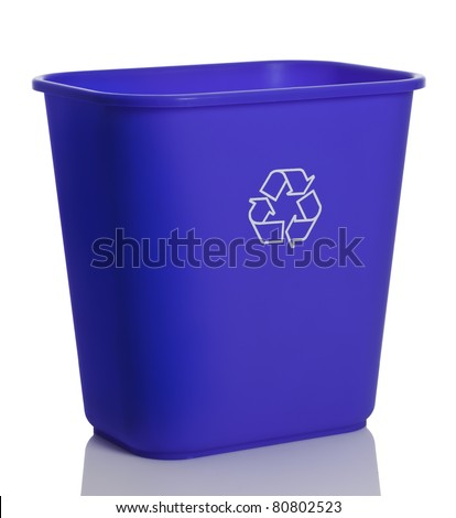 Side top view of a tall blue recycling bin isolated on white background.