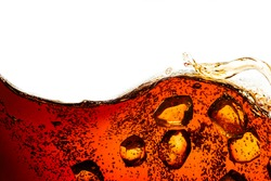 Side view background of refreshing cola flavored soda with bubbles and ice isolated on white
