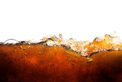 Side view background of refreshing cola flavored soda with bubbles isolated on white