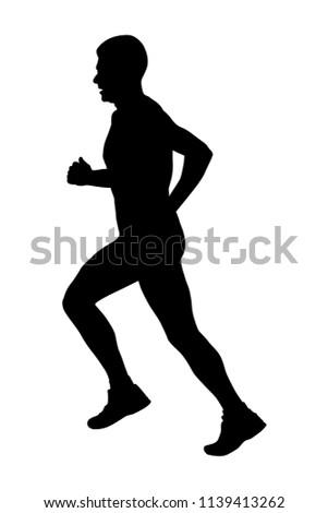 side view black silhouette male runner athlete