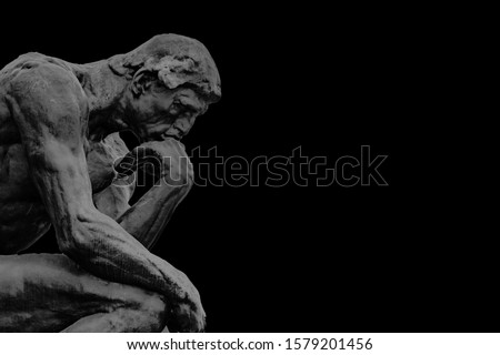 Side view bronze thinker sculpture background template in dark grey and black background color ストックフォト ©