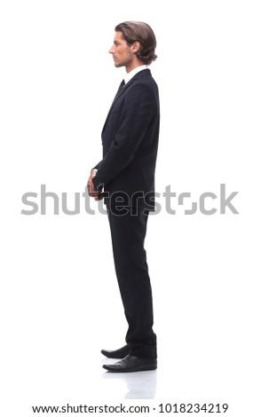 side view.confident businessman.