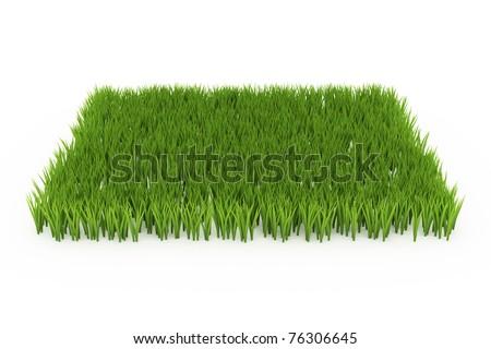 Side View 3d Green Grass Field