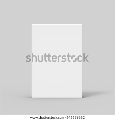 side view 3d rendering blank flat box and shadow, isolated gray background stock photo