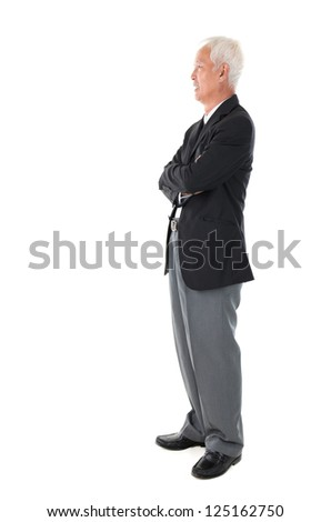Side view full body Asian senior businessman standing isolated white background