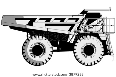 Side view illustration of a tipper truck.