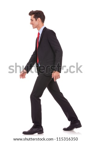 side view of a business walking forward, on white background