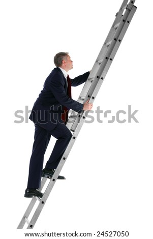 Side view of a businessman climbing a ladder, isolated on a white background. - stock photo