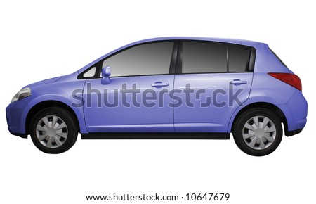 Side view of a car isolated on white background.