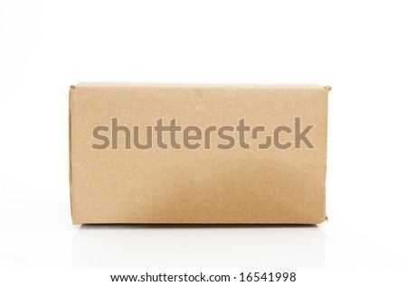 side view of a cardboard box isolated against white background