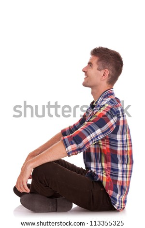 Man Sitting Cross Legged Side View side view of a cross legged