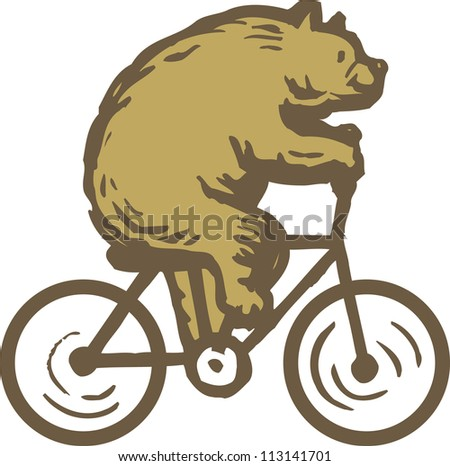 Side view of a cycling bear