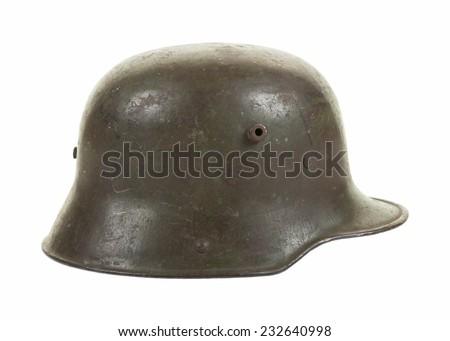 Side view of a German M1916 steel combat helmet