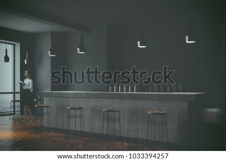Side view of a gray wall bar interior with a wooden floor, a stone bar and wooden stools near it. A woman. 3d rendering mock up toned image double exposure