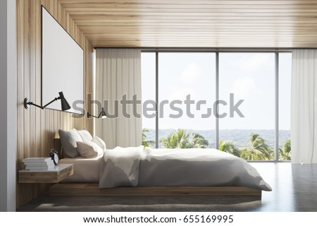 Side view of a light wooden wall bedroom interior with a double bed, a bedside table, a horizontal poster and a large window with mountain view. 3d rendering, mock up