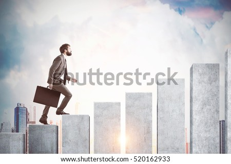 Side view of a man climbing the concrete stairs made in the shape of a graph. Cloudy sky and city are in the background. Concept of success and achieving your goal. Mock up. Toned image #520162933