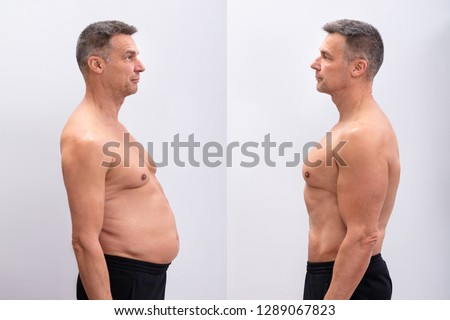 Side View Of A Mature Man Before And After Loosing Fat On White Background. Body shape was altered during retouching