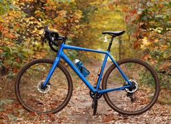 Side view of a modern gravel bicycle on a forest trail.