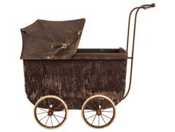 Side view of a nineteenth century brown baby pram isolated on a white background