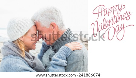 Side view of a romantic senior couple against cute valentines message