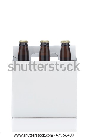 Side View of a Six Pack of Brown Beer Bottles in Cardboard Carrier isolated on white with reflection vertical format