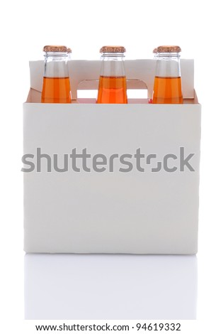 Side view of a six pack of Orange soda bottles over a white background with reflection.