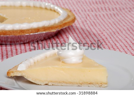 Side view of a slice of banana cream pie