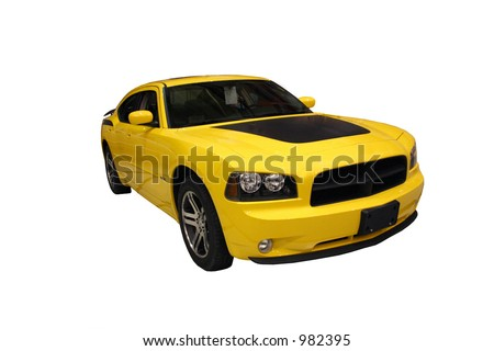 Side View Of A Sporty Yellow Car Isolated Over White