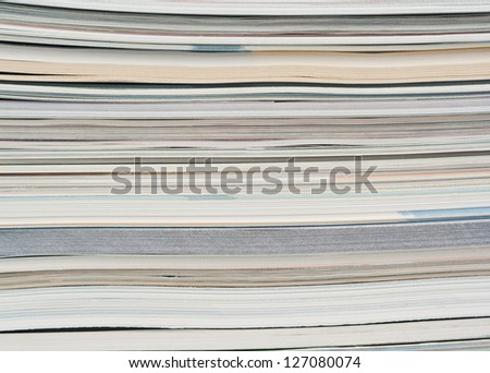 Side View Of A Stack Of Paper, Books And Magazines. Stock ...