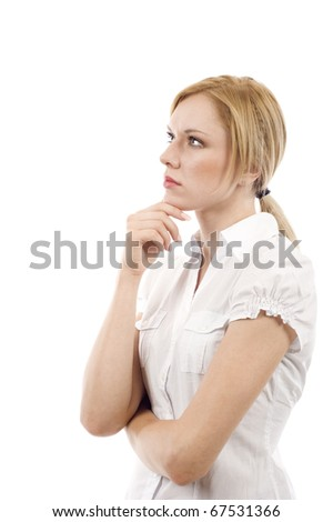 Side view of a thoughtful woman standing and looking up at the copyspace  - isolated over white background