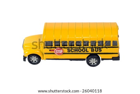 Side view of a toy school bus, isolated against a white background