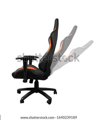 Side view of Adjustable office chair in different positions isolated on white background ストックフォト ©