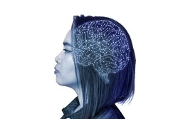 Side view of an asian lady with a visible Neural Network in the form of a brain. Neural Implant or Artificial Intelligence Concept.