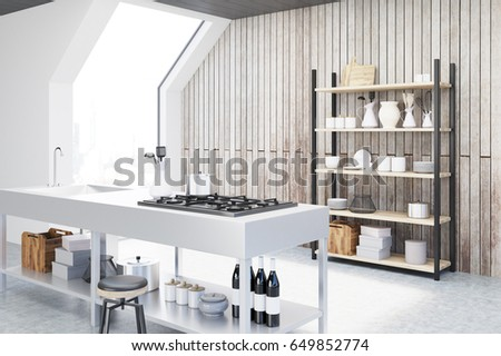 Side view of an interior of an attic kitchen with wooden walls, a cooker, a sink and a cupboard with dishes and cutting boards. 3d rendering, mock up