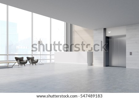 Side view of an office waiting area with a reception desk, two armchairs and a table. A steel elevator door is in the right part of the image. 3d rendering. Mock up.