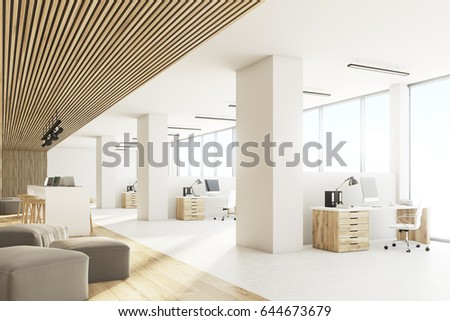 Side view of an open office interior with a bar table, laptops standing on it, light wooden ceiling and floor and a wall with sticky notes. 3d rendering