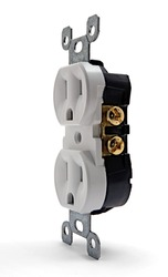 Side view of an uninstalled white electrical outlet
