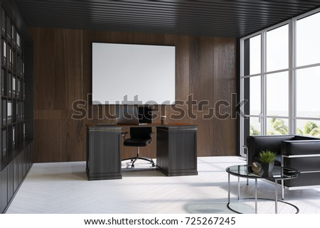 Side view of an upscale CEO office interior with dark wooden walls, a white floor, loft windows and a bookcase next to a massive table. A horizontal poster. 3d rendering mock up