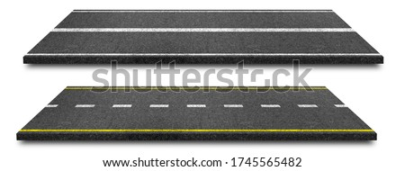 Side view of Asphalt straight street road way of lanes with lines isolated on white background. (Clipping path), 3d Illustration Сток-фото ©