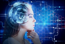 Side view of attractive young woman with abstract digital brain. Brainstorm and robotics concept. Double exposure