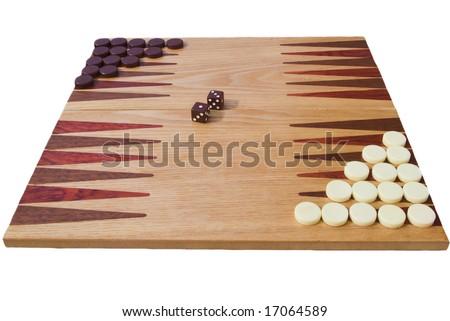 side view of backgammon board