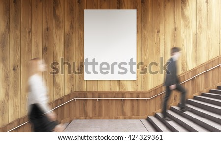 Side view of blank poster on wooden wall and businesspeople climbing stairs. Mock up, 3D Rendering #424329361