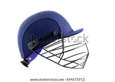 Side View of Blue Cricket Helmet on White Background #694675912