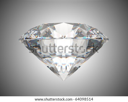 Side view of brilliant cut diamond. Over grey background